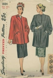 An original ca. 1940's Simplicity Pattern 1884. Misses' and Women's Coat in half sizes - The lined coat is styled with side front seams which are extended to form pockets. The back is cut in three sections. In Style I, soutache braid trims the front edges, pockets and neck edge. Buttons accent the pockets. Style II has a square neckline and a one-button closing of the upper neck edge. Two rows of buttons trim the front and soutache braid outlines the side-front seams.