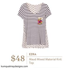Stitch Fix #33 August 2016 Ezra Maud Mixed Material Knit Top app photo