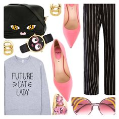 """Future Cat Lady"" by stacey-lynne ❤ liked on Polyvore featuring Balenciaga, Fendi, Yazbukey, Kate Spade and Monet"