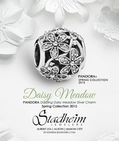 PANDORA Dazzling Daisy Meadow Silver Charm - Spring Collection 2015