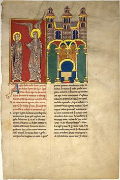 Leaf from a Beatus Manuscript: the Angel of the Church of Sardis with Saint John | Spanish | circa 1180 | tempera, gold & ink on parchment | The Cloisters Collection; Metropolitan Museum of Art | Accession Number: 1991.232.4