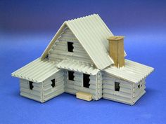Building a Vintage-Style Cardboard Log House Cardboard Gingerbread House, Cardboard Box Houses, Paper Houses, Christmas Village Houses, Putz Houses, Doll Houses, Villas, Doll House For Boys, Advent House