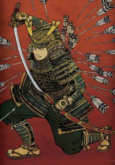 This looks cool Oni Samurai, Samurai Tattoo, Japanese Mask Tattoo, Yuko Shimizu, Samurai Artwork, Japan Painting, Japanese Warrior, Korean Art, Japanese Prints