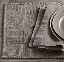 Stonewashed Belgian Linen Quilted Runner | Tablecloths & Runners | Restoration Hardware