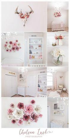 floral baby girl nursery, shiplap bookshelf, paper flowers, european mount, deer, chandelier, arrow, blush, gold, pink