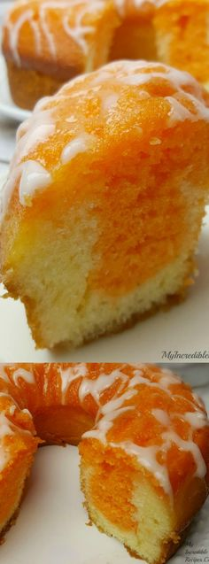 This Orange Creamsicle Cake from My Incredible Recipes is an orange lovers dream come true. It is SO easy to make and uses a secret ingredient that makes the cake light, fluffy and gives it a special orange flavor. Creamsicle Cake, Orange Creamsicle, Orange Juice Cake, Orange Bundt Cake, Just Desserts, Delicious Desserts, Dessert Recipes, Awesome Desserts, Bunt Cakes