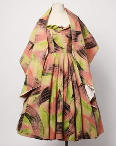 1stdibs   Extraordinary Vintage 1950s Hand Painted Neon Dress + Wrap by Maya de Mexico