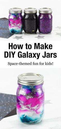 How to Make Galaxy Glitter Jars Projects For Kids, Diy For Kids, Crafts For Kids, Diy Crafts, Burlap Crafts, Hobbies For Kids, Burlap Projects, Simple Crafts, 4 Kids