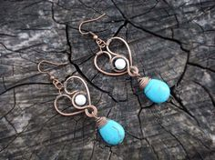 Heart turquoise drop earrings Chandelier by MargoJewelryHandmade