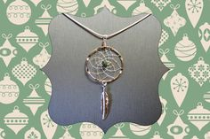 Silver Dreamcatcher Necklace with a Green Aventurine nugget and feather, medium size, Native American Style, Silver Necklace by OriginalsByCathy on Etsy