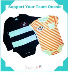 Support your team Onesies from BabyK. For boys and girls! Cute Little Baby, Little Babies, Boy Outfits, Boys, Girls, Custom Made, Boy Or Girl, Onesies, Boyish Outfits