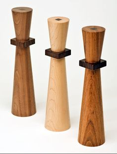 Wood turned pepper mills with the ceramic CrushGrind® mechanism; Jotoba, Maple and Walnut with Wenge accents