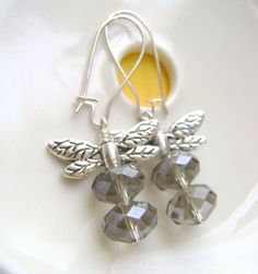 Dragonfly+Earrings+with+faceted+Gray+by+RachellesJewelryBox,+$18.00