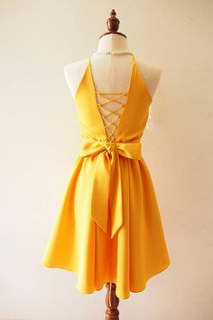 990598d9f7b3 Sexy sophisticated design of backless dress. Win in all party. In mustard  color ✄