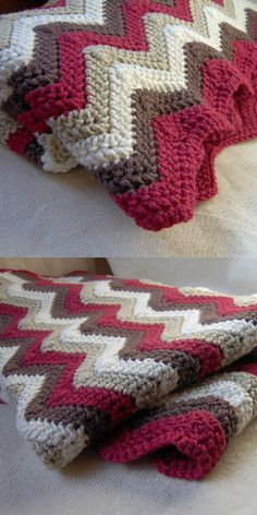 Blanket Free crochet pattern Afghan Ripple Blanket Free crochet pattern Afghan Ripple Blanket Free crochet pattern Perfect throw for an Americana themed room with color as is. Modern Crochet Chevron Blanket with FREE Pattern! Crochet Ripple Blanket, Afghan Crochet Patterns, Crochet Stitches, Knitting Patterns, Chevron Blanket, Crochet Blankets, Chevron Crochet Blanket Pattern, Afghan Blanket, Throw Blankets