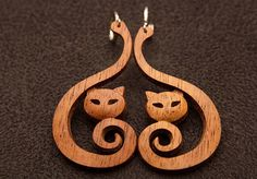 Wooden earrings Wooden cat earrings Cat earrings Large wooden