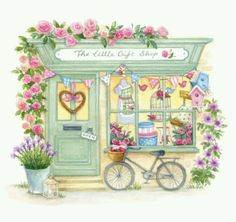 Lisa Alderson - The little gift shop aw. Vogel Quilt, Art Mignon, Illustration Mode, Little Gifts, Cute Drawings, Mail Art, Cute Art, Watercolor Paintings, Watercolours