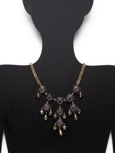 Multi-Cut Crystal & Glass Bib Necklace by Leslie Danzis at Gilt