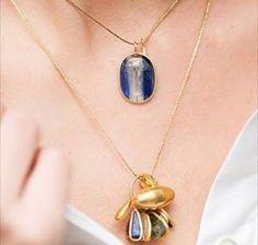Gold amulet and rainbow sapphire charm necklace worn by @lizaurla @gemologue #PippaSmall #PippaSmallJewellery…