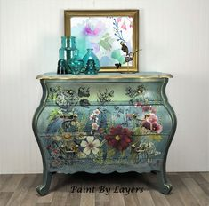 SOLD. SOLD. Bombe Chest, Dresser, Chest, Entryway Chest Diy Dresser Makeover, Furniture Makeover, Furniture Ideas, Entryway Furniture, Colorful Furniture, Furniture Design, White Wood Dresser, Muebles Shabby Chic, Victorian Parlor
