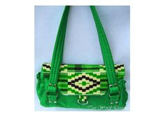 Green Handmade African Kente Cotton Print Fabric and Satin Handbag  Purse by TessWorldDesigns on Etsy. $69.00, via Etsy.