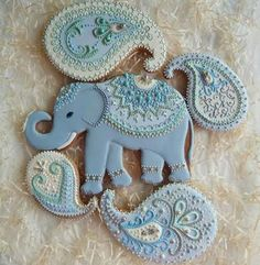 New Baby Shower Elephant Cake Decorated Cookies Ideas - Cake Decorating Cupcake Ideen Fancy Cookies, Iced Cookies, Biscuit Cookies, Cute Cookies, Cupcake Cookies, Sugar Cookies, Bolacha Cookies, Galletas Cookies, Cupcakes Cool