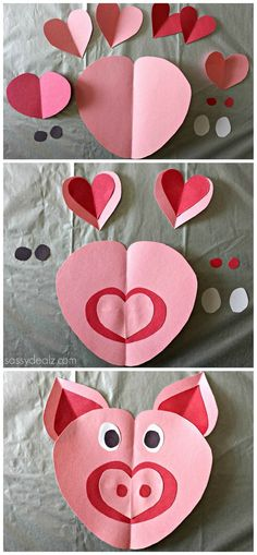 Pig Craft for Kids made out of paper hearts! Valentine's Day art