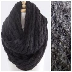 """Chunky Soft Sweater Yarn Black Infinity Scarf ‼️PRICE FIRM‼️   Sweater Yarn Double Infinity Scarf  Retail $74  Black  This scarf is unbelievably soft & warm!  Made from the same yarn as your favorite comfy sweater!  Photos do not do justice.  Lots of stretch to get that perfect look!  Dress up any outfit day or night.  Also available in other colors. Please check my closet for many more scarves, jewelry and designer clothing items.  100% acrylic.  Length 32"""" (unstretched)  Width 14"""" Boutique…"""