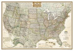 National Geographic USA Map - Executive - 73″ X 48″ Scale: 1″ = 44 Miles - Wood Grain Color Mounting This political map portrays the United States elegantly in rich, earth-toned colors and is available in 2 sizes, mounted with your choice of four different colored frames. #nationalgeographicmaps #maps #nationalgeographic #geography