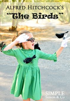 """halloweencrafts: DIY No Sew """"The Birds"""" Halloween Costume Tutorial from The Train To Crazy here.This would be an easy costume for kids or adults and uses Dollar Store crows. Truebluemeandyou: In more photos at the link of this costume there is a crow in her hair. I'd go insanely crazy with the birds for adults and maybe have onee closer to my face with a little fake blood from all the pecking."""