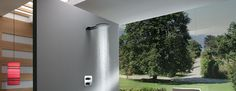NEWTON Aluminium alloy wall mounted shower head with relaxing rain nozzles.
