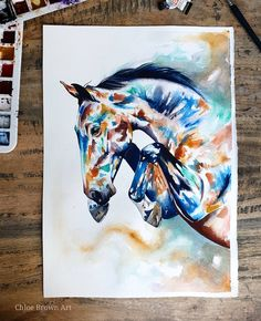 """Contemporary watercolour commission A3.  The owner of this beautiful horse sent me the kindest words 😭🥰 """"I think that you capture the essence of the horses really well. There's something about how you paint them that makes them look familiar... sometimes when something you know so well is interpreted by someone else, they don't often see what you see and the subject is somewhat unrecognisable but that doesn't seem to happen with your paintings :)"""" Today I'm working on  commissions and have… Chloe Brown, Brown Art, Contemporary Artwork, Horse Art, Your Paintings, Beautiful Horses, Pet Portraits, A3, Watercolour"""