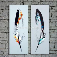 free shipping hand made modern fashion wall oil painting feathers canvas pictures 2 panels home decor wall painting t2p36-in Painting & Calligraphy from Home & Garden on Aliexpress.com | Alibaba Group
