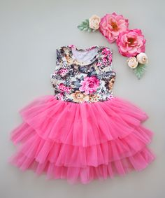 Pink & Gray Floral Tiered Tutu Dress - Infant Toddler & Girls