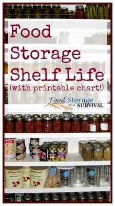food storage shelf life plus printable chart - Food Storage and Survival