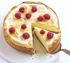 Luscious lemon baked cheesecake: A simple but very impressive pud, light enough to have a slice to finish a big meal.