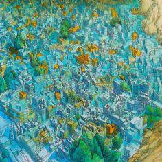 😃塗り絵1枚完成♬ 【Fantastic Cities by Steve McDonald】 #コロリアージュ #大人の塗り絵 ##adultcoloringbook #fantasticcities #fantasticcitiescolouringbook