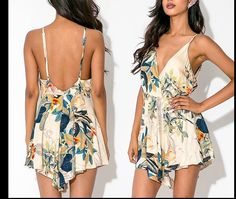 The New Wave Of Female Bohemian Resort Essential Sexy Backless Printing Siamese Culottes