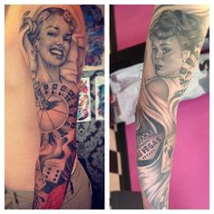 Vintage Pin Up Girl Tattoo Sleeve - Dean Taylor http://pinupgirlstattoos.com/vintage-pin-up-girl-tattoo-sleeve/