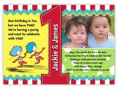 Dr. Seuss Thing 1 & Thing 2 First Birthday Photo Invitation