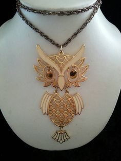 Cute vintage owl pendant necklace 1960s by MartiniMermaid on Etsy