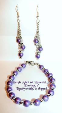 Adult purple bracelet/earring set