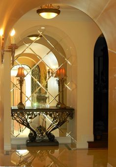 Beveled Mirror Tiles Design Ideas, Pictures, Remodel, and Decor - page 2 Mirror Tiles, Beveled Mirror, Mirror Mirror, Entry Mirror, Antiqued Mirror, Mirror Backsplash, Mirror Panels, Mirror Glass, Bathroom Mirrors