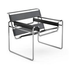 The Wassily Chair, designed in 1925 by Marcel Breuer, a member of the Bauhaus. I own a cheap copy, covered in white canvas.