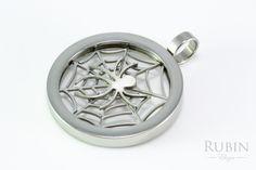 Pókháló motívumos nemesacél medál  www.rubinekszer.hu