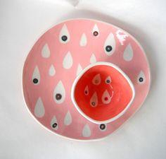 Rosa Regentropfen Platte  bereit Schiff von @CeramicaBotanica via @Etsy