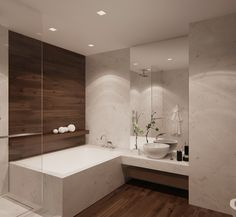 Wood wall by tub