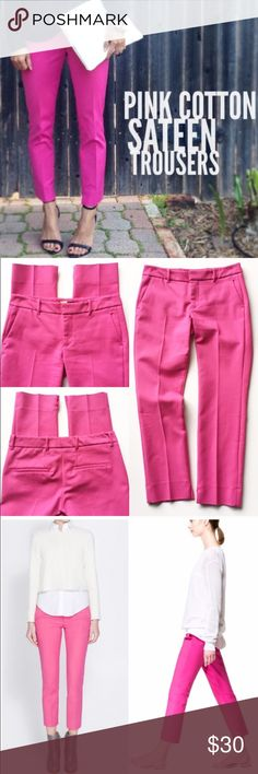 "Skinny Ankle Pants/ Trousers Worn twice, medium weight cotton sateen-like skinny trousers. Pink/fuchsia, 52% cotton/45% polyester/ 3% elastane. Some stretch, very comfy, inside double hook with zip fly closure, belt loops, slits at inside ankles. Laying flat: Approx. 14.5"" across waist, 7.5"" front rise, 25.5"" inseam, 6"" across ankle. Zara Pants Ankle & Cropped"