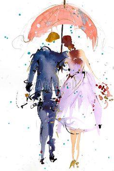 aquarelle mariage parapluie illustration colore imprimable pour faire part cadeaux invits dcoration pour la maison - Etsy Faire Part Mariage