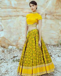Buy this Pleasant Yellow Colored Banglori Satin Party Wear Lehenga Choli for traditional functions in your home at best prices from drapino fashion - India's growing online ethnic store for women. Half Saree Designs, Choli Designs, Fancy Blouse Designs, Lehenga Designs, Saree Blouse Designs, Blouse Patterns, Indian Skirt, Dress Indian Style, Indian Dresses